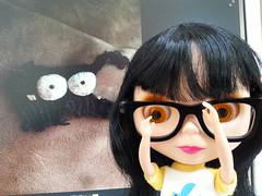 135/365 Edna's reaction (sozzielou) Tags: dog hat monster arcade attack becky button ba edna 365blythe