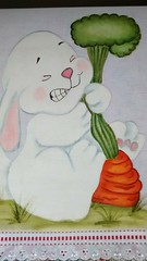 Coelho  e a cenoura (Pintura em tecido. Panos de prato.) Tags: coelho cenoura pinturacountry pinturaemtecido panodeprato panodecopa