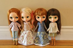 My Kenner family (Blythe Spa Time) Tags: sisters vintage dolls side retro redhead part blonde kenner blythe brunette bangs seventies glance