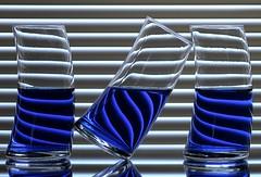 Refraction (Karen_Chappell) Tags: blue stilllife glass lines three stripes refraction