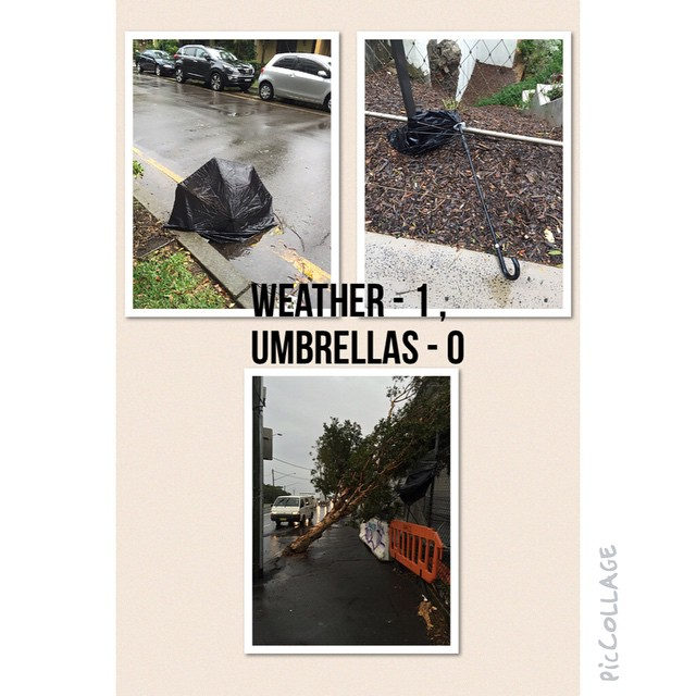 Weather - 1 , Umbrellas - 0 #nsw #storm #wet #rain #Sydney #today