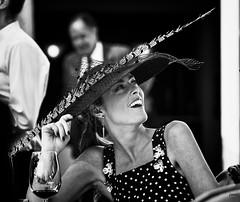 Mara ByN (Joaqun M Crespo) Tags: party bw byn blancoynegro girl smile hat blackwhite fiesta retrato feather pluma sonrisa xpro2 sophisticatedgirl sistemax xf90mm