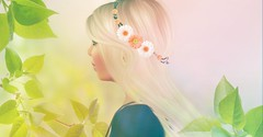 Client Work (Netau) Tags: pink flowers blue red roses summer people tiara flower green colors yellow photoshop hair photography photo spring time sl secondlife romantic crown portret leafs effets meshhead flowerscolors slphoto prtty slportrait