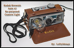 Steampunk Upcycled Kodak Vintage Brownie Auto 27 Re-purposed Flash Camera Lamp Light Encased with a Brown Leather Case by Loftyideas4u (https://www.facebook.com/loftyideas4u) Tags: auto camera light brown lamp leather vintage kodak flash hipster encased case brownie etsy 27 facebook repurposed steampunk eba upcycled instagram loftyideas4u