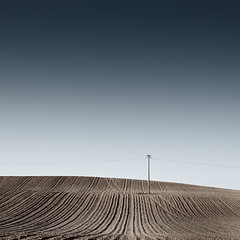 Lonesome Pole (panfot_O (Bernd Walz)) Tags: color field rural square countryside space fineart tracks farmland pole silence colorized fields vastness acre contemplation emptyness bareground