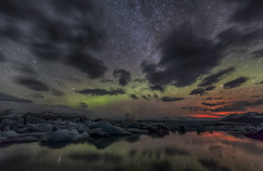The Aurora and the light of holuhraun (Nick L) Tags: lake green ice clouds canon wow stars landscape eos volcano iceland outdoor glacier aurora relection 5d canon5d brilliant eruption northernlights auroraborealis jokulsarlon jkulsrln milkyway glaciallake 1635l 1635lii 5d3 eos5dmk3 canon5d3 canon5dmark3 eos5dmkiii eruptionlight icelakeatjkulsrln icelagoonatjkulsrln icelagoonatjokulsarlon