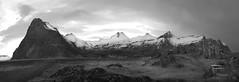 a picnic spot with a view (lunaryuna) Tags: bw panorama monochrome season landscape blackwhite iceland spring lunaryuna massif mountainrange haveabreak snowcappedmountains southiceland seasonalchange vatnajokullnationalpark