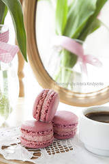 Three pink macaroons and cup of coffee, pink tulips and mirror, backlight background (victoria.kondysenko) Tags: birthday wood pink wallpaper plant flower holland color green texture love nature floral beautiful beauty backlight easter spring flora day pattern symbol anniversary decorative background space postcard mothers celebration card gift tulip bunch valentines florist bouquet greetings bud lovely delicate decor emotions copy springtime feelings advertise