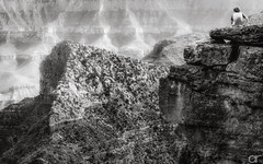 One on One with the Canyon (A.Reef (slow)) Tags: bw scale monochrome solitude canyon contemplation
