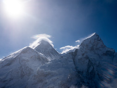 Everest and Portse (sasbphotography) Tags: yak mountain snow mountains clouds mt himalaya yaks everest himalayas