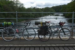 salmoning upstream (dean.clementson) Tags: bike bridges peugeot tees countydurham teesdale cycletouring whorltonsuspensionbridge teesdalemay2016
