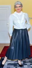 Ingrid022134 (ingrid_bach61) Tags: leather skirt blouse mature faux pleated ruffled kunstleder faltenrock rschenbluse