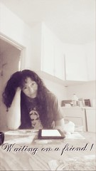 Waiting on a friend ! (PhotoJester40) Tags: woman kitchen girl beautiful sepia lady female missing waiting longhair posing content harley indoors inside darling loved myprecious kitchentable morningcoffee photogenic naturalpose mysweetie eyepleasing
