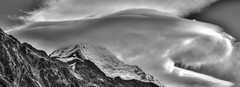 Blowing hard over Mt Cook summit (Seabird NZ) Tags: newzealand mountains blackwhite windy summit southernalps hdr highdynamicrange cloudscape mountcook tasmanlake sigma120300mmf28 nikond810a