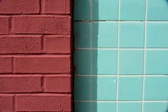 Neapolitan, Plate 3 - Explored.  Thank you! (Joanne Dale) Tags: blue shadow abstract brick green wall tile aqua turquoise teal terracotta glaze minimalism crackle grout coloursofthedesert joannedale nikond7200