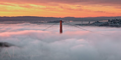 One Fine Day! (Andrew Louie Photography) Tags: life california morning bridge pink friends sky usa coffee colors fog clouds sunrise photography one golden spring gate san francisco heaven day candy pastel low fine dream jazz andrew pillow cotton passion dreamy louie epic marshmellow