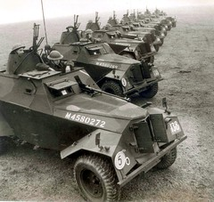 British Humber Scout Cars with mounted Bren MG's and Boys Anti-Tank Rifles.