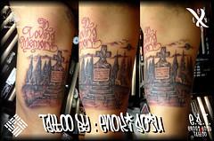 Tattoo by Enoki Soju (Enoki Soju) Tags: tattoo es tattooart tattoodesign tattooartist memorialtattoo travelingartist letteringtattoo scripttattoo tattoophoto tombstonetattoo enokisoju enokisojutattoo professionaltattooartist awardwinningtattooartist tattoobyenokisoju enosoxo treestattoo