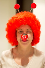 Clown... (Singleton2302) Tags: charity school red hair nose comedy comic day clown relief wig wife deeley boppers project365