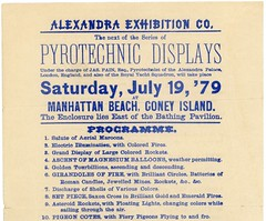 Pyrotechnic Displays by James Pain, Coney Island, July 19, 1879 (Top) (Alan Mays) Tags: ephemera broadsides handbills leaflets notices fliers flyers circulars announcements advertising advertisements ads paper printed independenceday fourthofjuly 4thofjuly july4 july4th 4th fourth holidays fireworks pyrotechnics pyrotechnicdisplays displays pain jamespain pyrotechnists alexandraexhibitionco alexandraexhibition companies manhattanbeach coneyisland newyorkcity ny newyork july19 1879 1870s 19thcentury nineteenthcentury victorian antique old vintage typefaces type typography fonts americanbanknoteco americanbanknote americanbanknotecompany printers