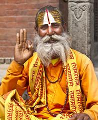 Holy Man at Durbar Square, Kathmandu, Nepal (Sagar Simkhada) Tags: life old nepal color asia dress indian religion culture beggar kathmandu shiva devotees hinduism baba blessed sadhu holyman durbarsquare 2015 paintedfaces basantapur lordshiva sagarsimkhada