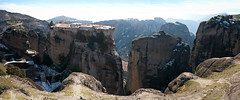 180° of panoramic awe (amfipolos) Tags: winter panorama mountains photoshop landscape rocks pano 360 panoramic 180 greece monastery stitched sonycybershot meteora kalambaka varlaam