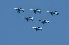 Blue Impulse (cotaro70s) Tags: sky castle japan air flight himeji hyogo