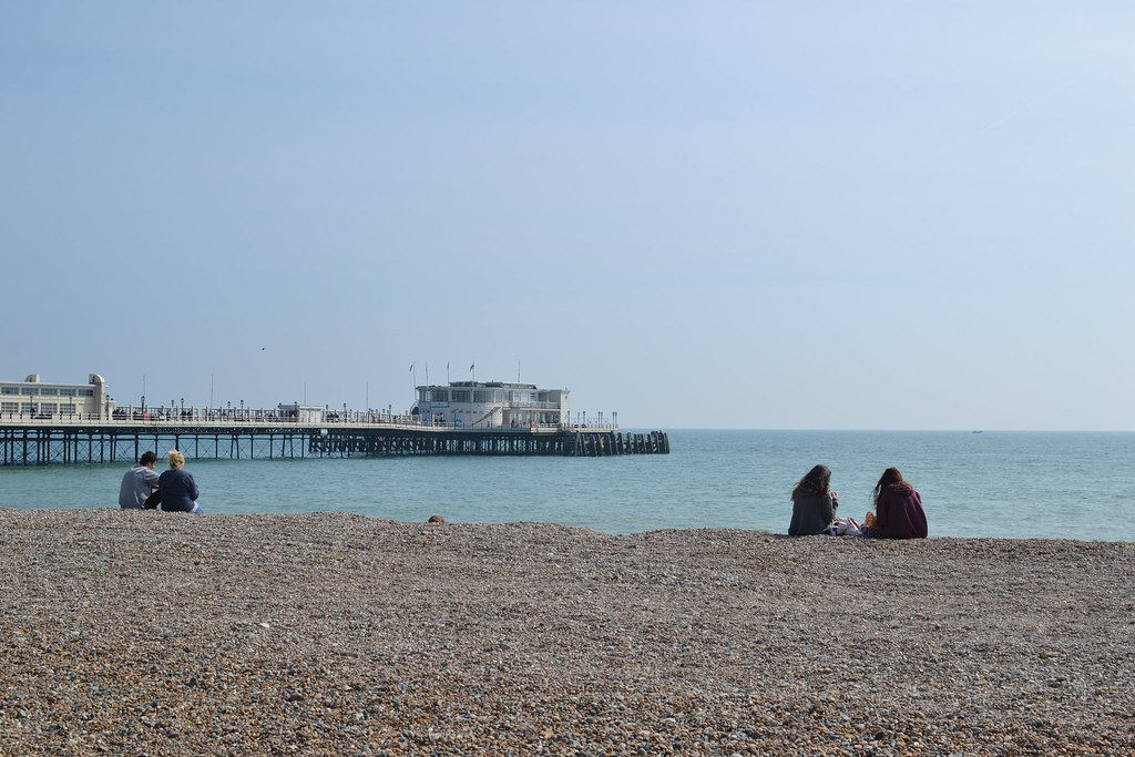 Shot Of Worthing Pier From The Beach Edge