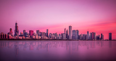 Good Morning Chicago! (Perry McKenna) Tags: longexposure chicago glass skyline buildings shoreline lakemichigan shore morningglow pinkglow donatelife planeterium marblesurface