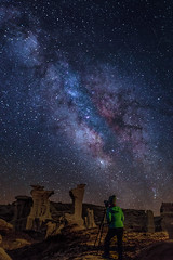 Willa While You Work  (Eric Gail: AdventuresInFineArtPhotography) Tags: sky newmexico stars nightscape badlands milkyway bisti ericgail adventuresinfineartphotography