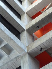 Batavia, IL, Fermi National Accelerator Laboratory (Fermilab), Wilson Hall, Offices and Administration, Architectural Detail (Mary Warren (7.0+ Million Views)) Tags: red abstract building lines architecture concrete angles minimalism fermilab diagonals bataviail