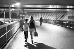 On the way back (Igor Voller) Tags: city light shadow people urban woman girl japan lady night evening abend kid leute outdoor walk mother tiles stadt backpack  yokohama lantern  mutter  tochter gehen                rcksack