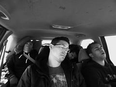 Asleep boys (Tulio Assis) Tags: trip travel bw white black car highway long sleep estrada carro asleep dormindo