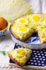 quiche with cabbage and eggs (Zoryanchik) Tags: food fish color green closeup pie french cuisine healthy european dish background tasty vegetable fresh slice cabbage pastry eggs seafood piece tart baked quiche smoked prepared