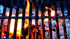 Sizzle & Burn (ClvvssyPhotography) Tags: camera red hot outdoors fire photography backyard nikon flickr 4th july grill flame coolpix ash coal grates sizzle charbroil clvvssyphotography