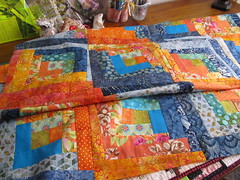 Liberated Log Cabin by Janie Krig, crazyvictoriana.blogspot.com (crazyvictoriana) Tags: logcabin block orange blues quilt top modern contemporary liberated style