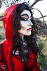 Through the Woods 7637 (JoDi War) Tags: trees sunset red wild nature grass fairytale dark lost blood woods wolf dress boots lace gothic victorian velvet hood storybook rhyme grandmothershouse nurseryrhyme throughthewoods storytale