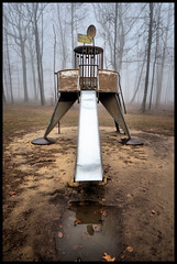 Slippery Slide. (BamaWester) Tags: park mist water rain weather playground misty fog foggy slide monte sano bamawester lonelyplayground