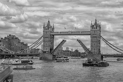 Tower Bridge (John Fenner) Tags: bridge bw white black london tower thames river 50mm prime mono nikon d750 nikkor f18 raised afd