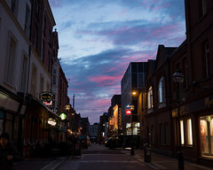 Dublin Sunset (Peter E. Lee) Tags: spring nearsbarandlounge sunset ireland street republicofireland 2016 ire clouds colorful pink dublin sky vibrant purple roi eire red ie
