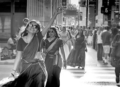 Chicago (curryxgreentea) Tags: vogue indian hindu glasses summer warmth contrast bw girl dance devotion urban city crosswalk street style