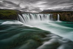~On The Edge~ A look over the edge of the iconic Godafoss falls in Iceland with heavy clouds rolling in. TGIF! (Lance Rudge) Tags: instagramapp square squareformat iphoneography uploaded:by=instagram
