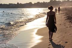 Side - walk on the beach in sunset 1 (Romeodesign) Tags: sunset sea woman holiday beach silhouette strand turkey evening coast mediterranean riviera walk side urlaub türkiye türkei antalya peninsula turkish blackdress spazieren 550d pamphylian