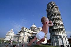 italian baby saves crowd from falling building (Mr.  Mark) Tags: italy rescue baby cute tower girl giant photo italian funny stock diaper pisa hero leaningtowerofpisa notpizza markboucher