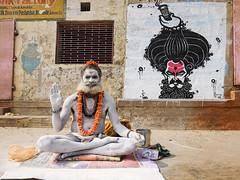 White 8 (Dick Verton ( more than 13.000.000 visitors )) Tags: travel people india white mural sitting streetlife sit varanasi ash seated wallpainting streetview sadhu ghats streetshot