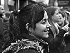 Street Audience (Owen J Fitzpatrick) Tags: dublin republicofireland tamron ojf people photography nikon fitzpatrick owen j joe street pavement chasingpavement chasing d3100 ireland editorial use only ojfitzpatrick pretty beauty beautiful face girl woman hair attractive female st 2015 irish eire lady spectator profile candid natural brunette black white mono monochrome earring ponytail side fleece smile close up coat audience grafton leinster bw dslr unposed candidphoto candidphotography candidportrait pretoebranco blancoynegro blackandwhite blackwhite