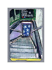 from this descent (Josh Torin) Tags: newyorkcity watercolor subway stars miniatures entrance paradiselost stairwell commute mta commuting rushhour watercolors daydream reverie dayjob miniaturepainting workinglife johnmilton pocketart narrativeart fromthisdescentcelestialvirtuesrisingwillappear morehallowedandmoredreadthanfromnofallandtrustthemselvestofearnosecondfate metrocardpaintings