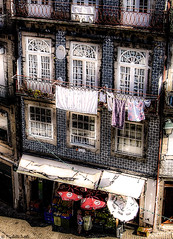 Wash day (Michelle Tuttle) Tags: summer holiday building portugal shop store europe porto washing