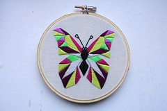 Embroidered Tattoo Inspired Geometric Butterfly (ShinyFabulousDarling) Tags: geometric tattoo butterfly handmade geometry embroidery sewing bugs stitching stitched embroidered handstitched handsewing embroideryhoop handembroidery hoopart embroideredart tattooinspired
