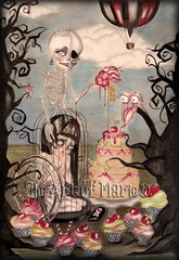 Ana (The Art of Marie D.) Tags: cute art cake cherry skeleton skull bigeyes cupcakes artwork cherries drawing surrealism wheelchair balloon cage anorexia surrealist anorexic bighead redandblack popsurrealism fantasyart anorexianervosa anoressia thaartofmaried